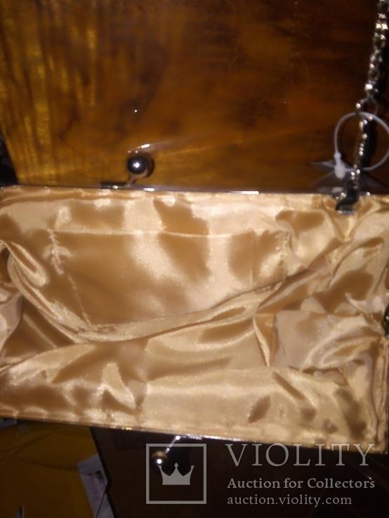 Театральная сумочка. Клатч. Атласная. Вышита бисером и пайетками. Новая., фото №4