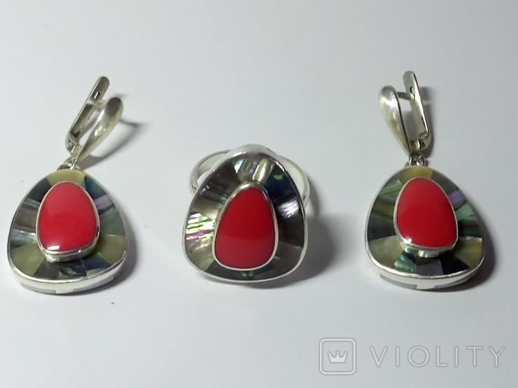 Кольцо и серьги (коралл, перламутр)., фото №2