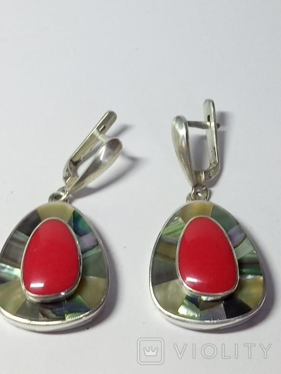Кольцо и серьги (коралл, перламутр)., фото №3