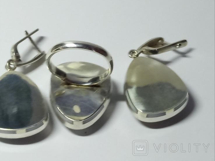 Кольцо и серьги (коралл, перламутр)., фото №7