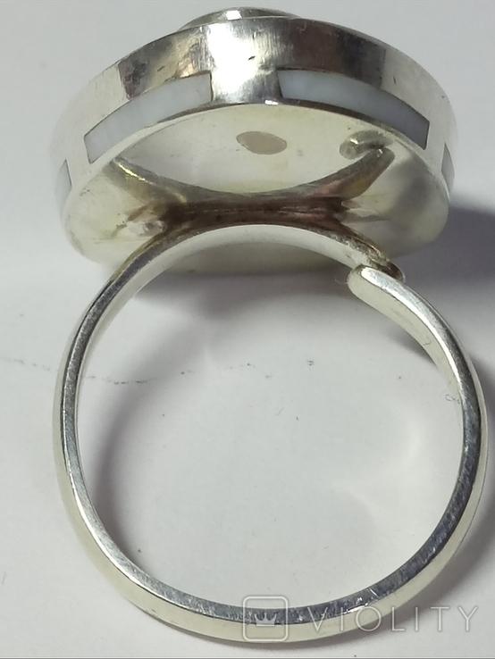 Кольцо и серьги (коралл, перламутр)., фото №8