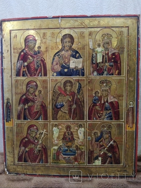 Икона - девятичастник Св.Михаил,обр.Богоматери...., фото №8