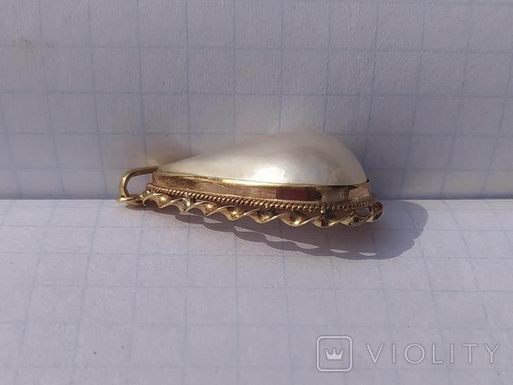 Золотой кулон с жемчугом мабэ., фото №8