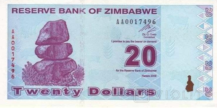 Зимбабве 20 долларов 2009 г UNC, фото №2