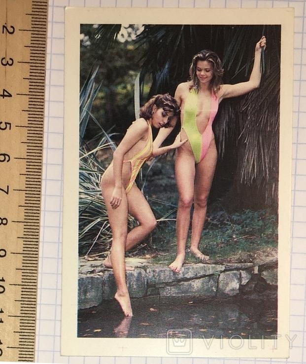 3 календарика  девушки, эротика, 1991 г.  / дівчата, еротика, фото №5