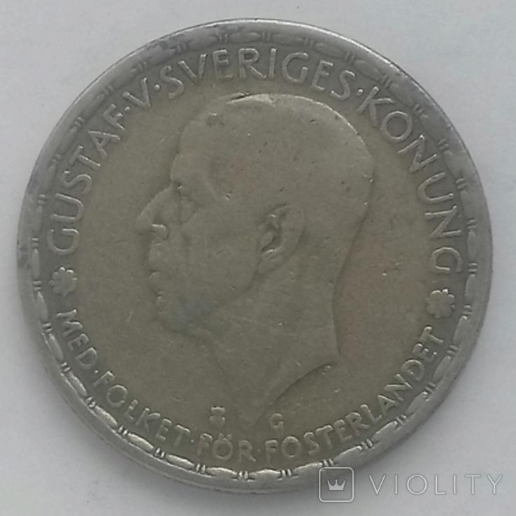 1 крона (серебро) 1942г. Швеция Густав 5, фото №2
