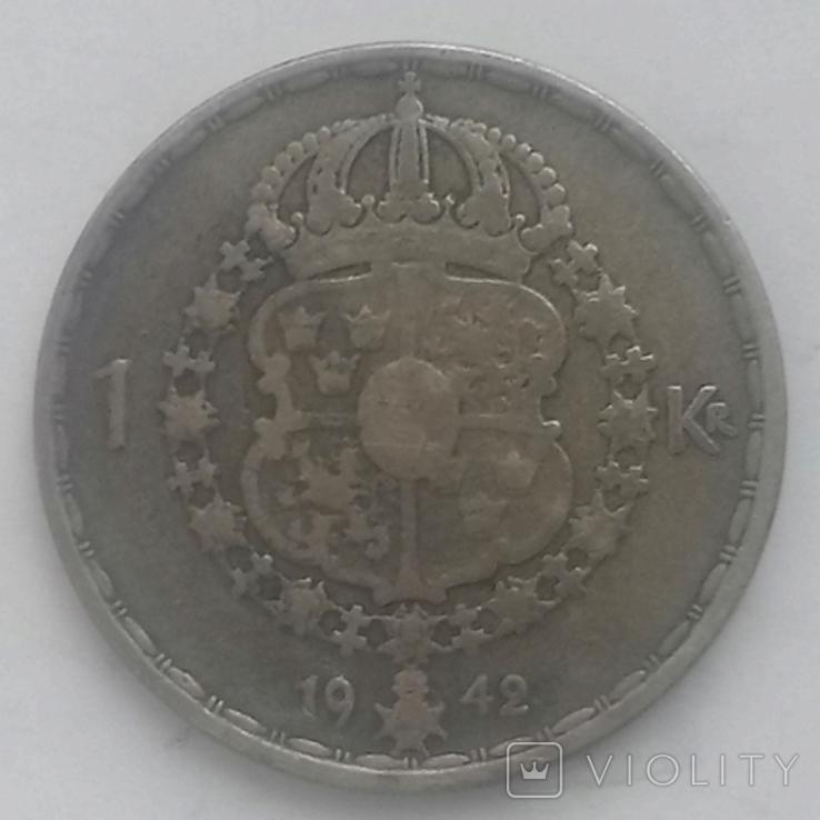 1 крона (серебро) 1942г. Швеция Густав 5, фото №3