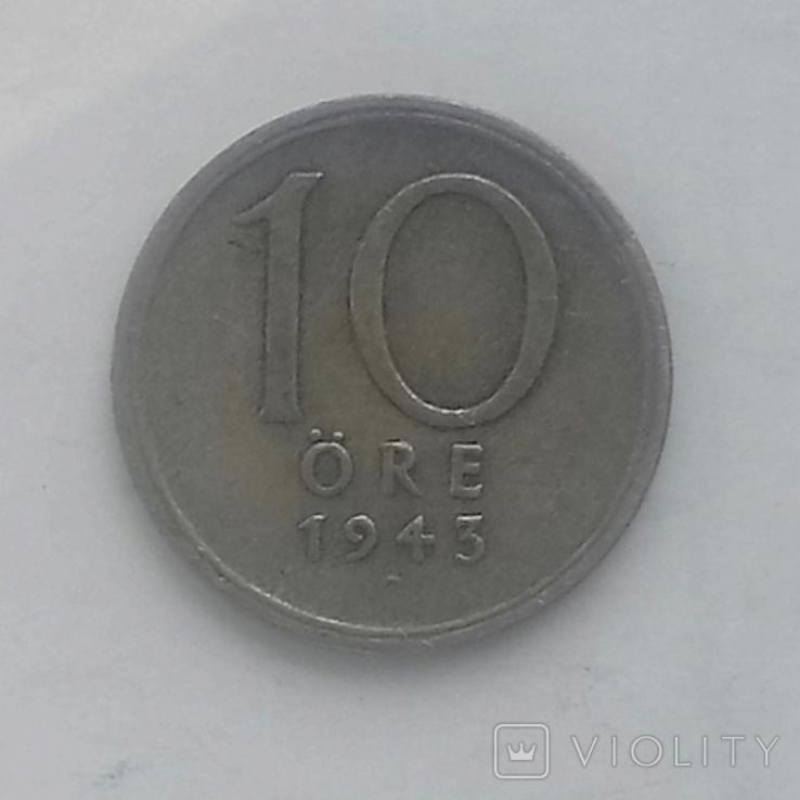 10 эре 1943г (серебро) Швеция, фото №2