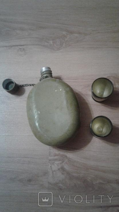Алюминевая фляга 58 года .Оригинельный окрас Цепь крышка и бонус, фото №4