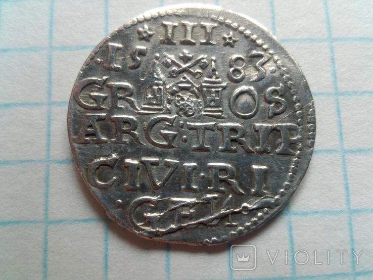Трояк Батория 1583г., фото №3