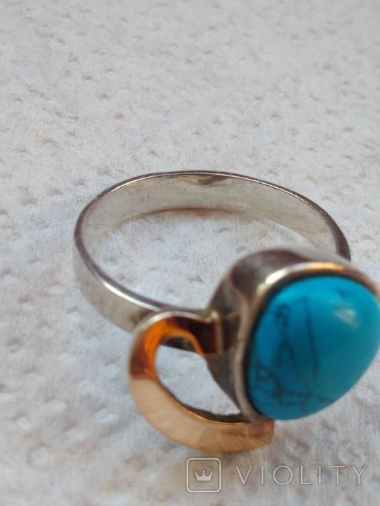 Кольцо и серьги с бирюзой и позолотой., фото №4