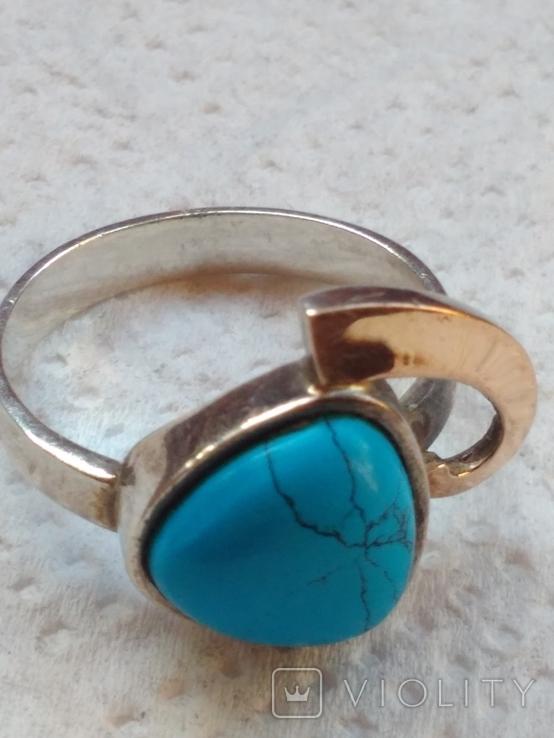 Кольцо и серьги с бирюзой и позолотой., фото №5