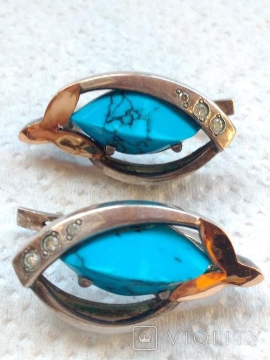 Кольцо и серьги с бирюзой и позолотой., фото №8