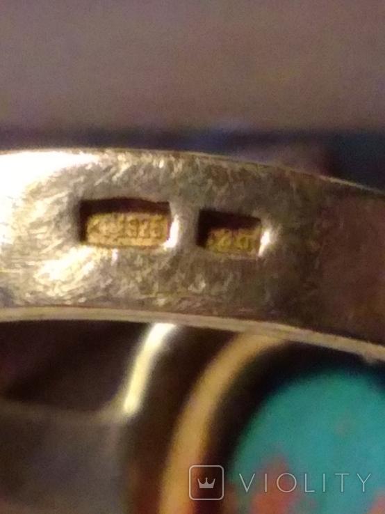 Кольцо и серьги с бирюзой и позолотой., фото №9