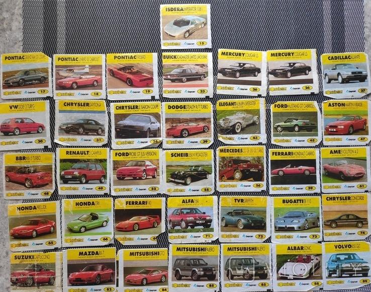 Вкладыши Bombibom.  Машинки. 90е гг. 36шт, фото №2