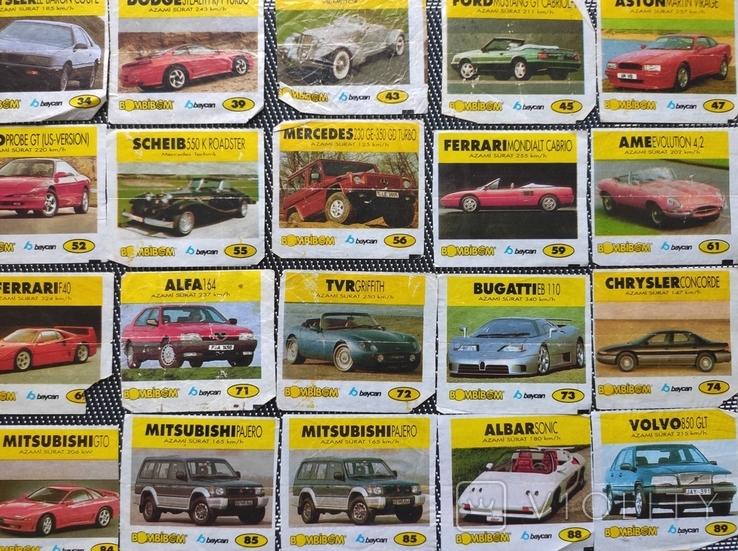 Вкладыши Bombibom.  Машинки. 90е гг. 36шт, фото №6