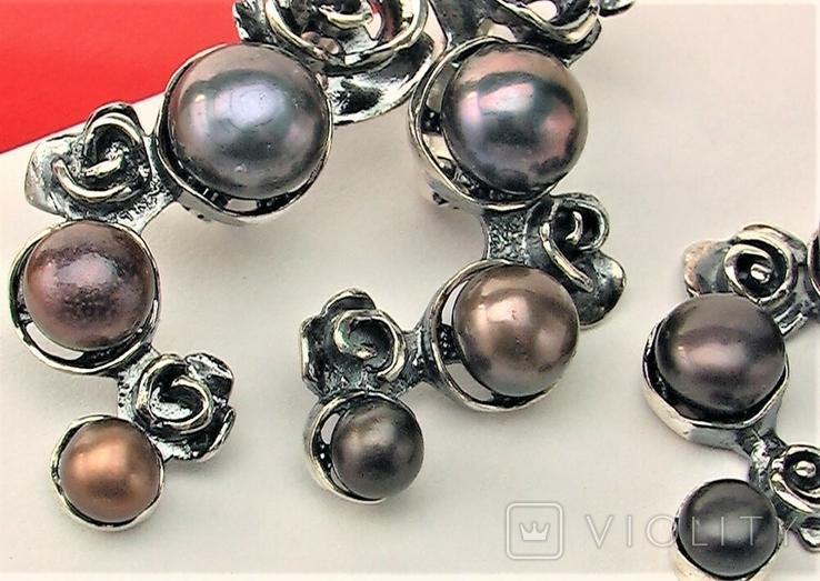Серьги и подвеска кулон серебро 925 проба 14,55 грамма, фото №3