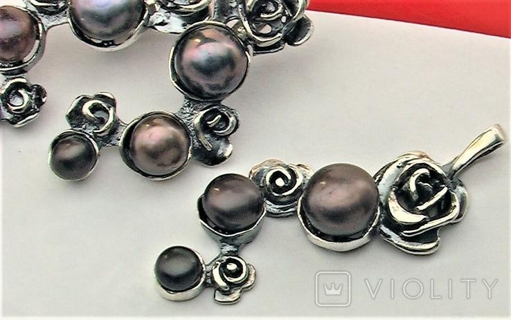 Серьги и подвеска кулон серебро 925 проба 14,55 грамма, фото №4