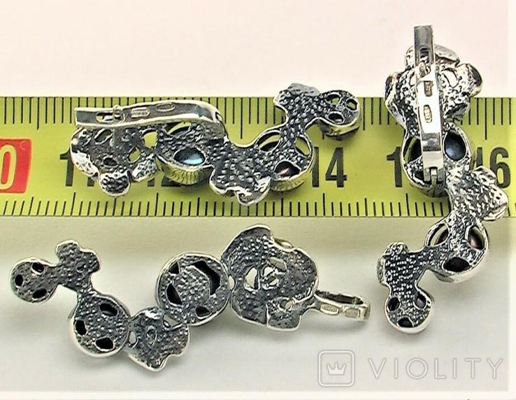 Серьги и подвеска кулон серебро 925 проба 14,55 грамма, фото №6