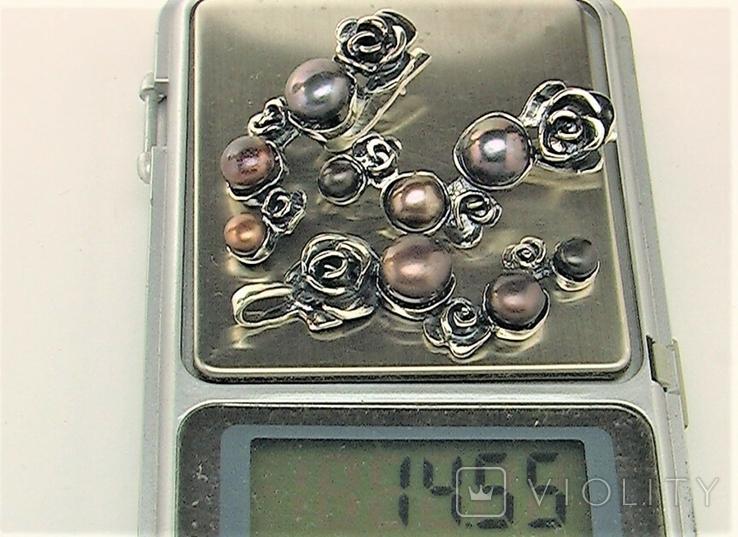 Серьги и подвеска кулон серебро 925 проба 14,55 грамма, фото №7