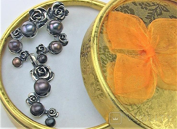 Серьги и подвеска кулон серебро 925 проба 14,55 грамма, фото №9