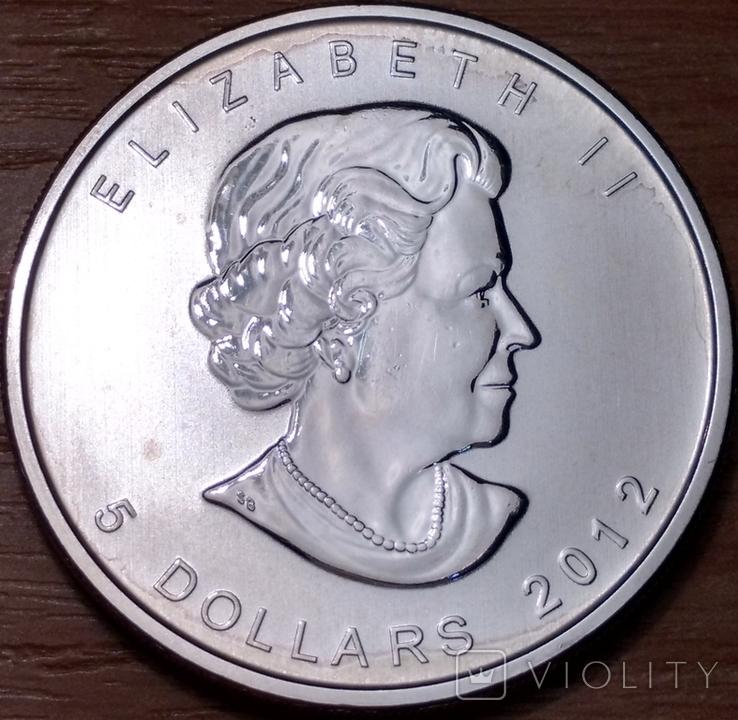 5 долларов 2012г. Елизавета II. Кленовый лист., фото №3