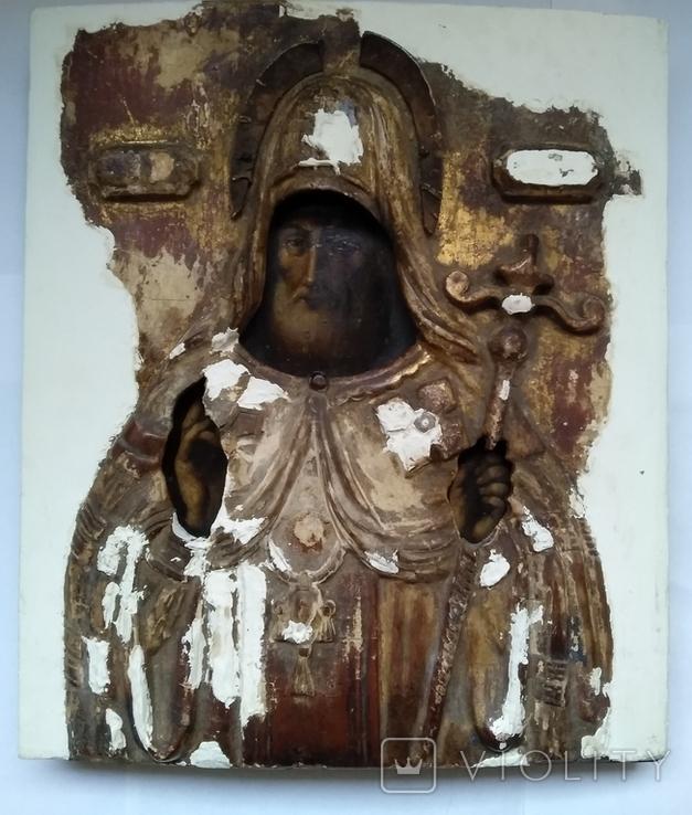 Старинная Икона в деревянном окладе ( Митрофан Воронежский ), фото №2