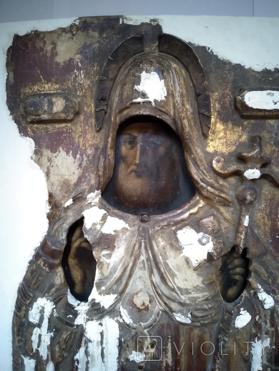 Старинная Икона в деревянном окладе ( Митрофан Воронежский ), фото №3