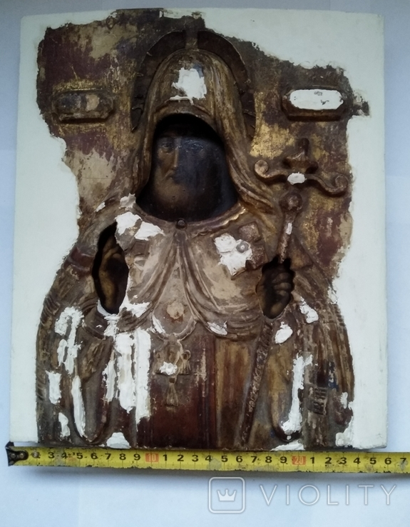 Старинная Икона в деревянном окладе ( Митрофан Воронежский ), фото №6