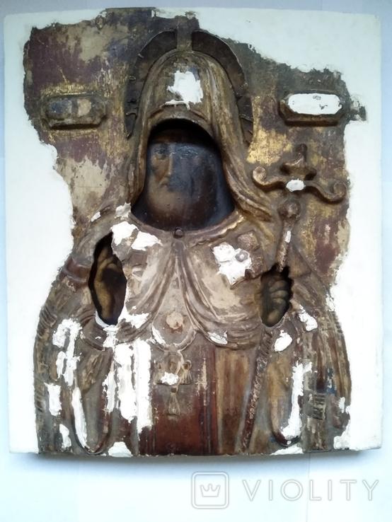 Старинная Икона в деревянном окладе ( Митрофан Воронежский ), фото №7