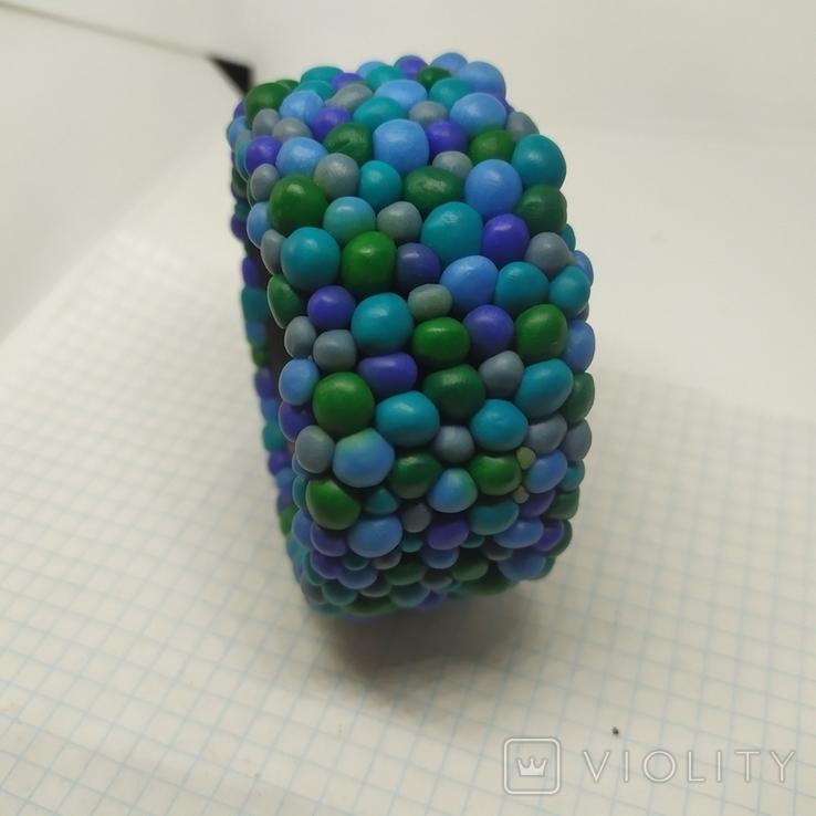 Широкий браслет в сине-бирюзовых тонах (3), фото №3