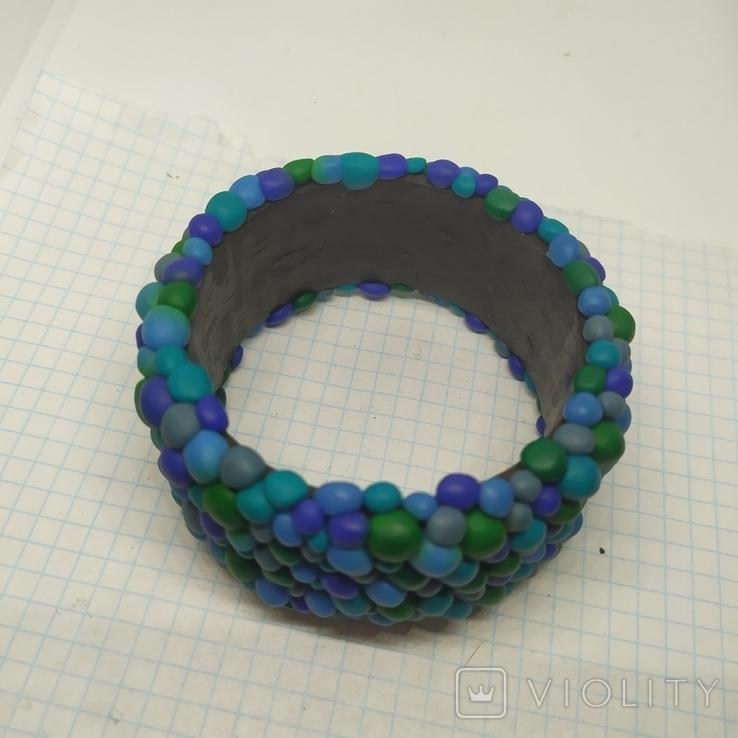 Широкий браслет в сине-бирюзовых тонах (3), фото №4
