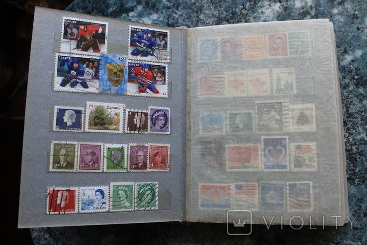 Марки США, Канада, Европа 350 шт, фото №2