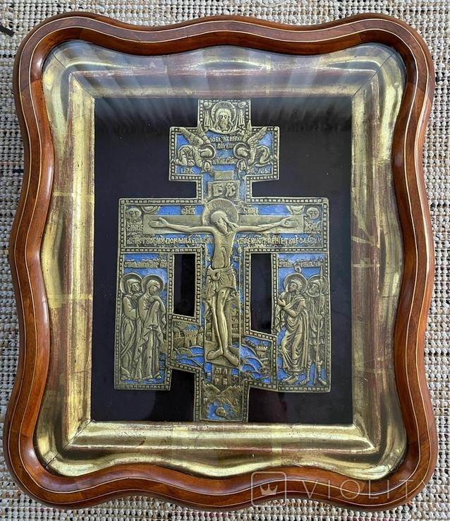Крест Бронза большой в киоте, фото №2