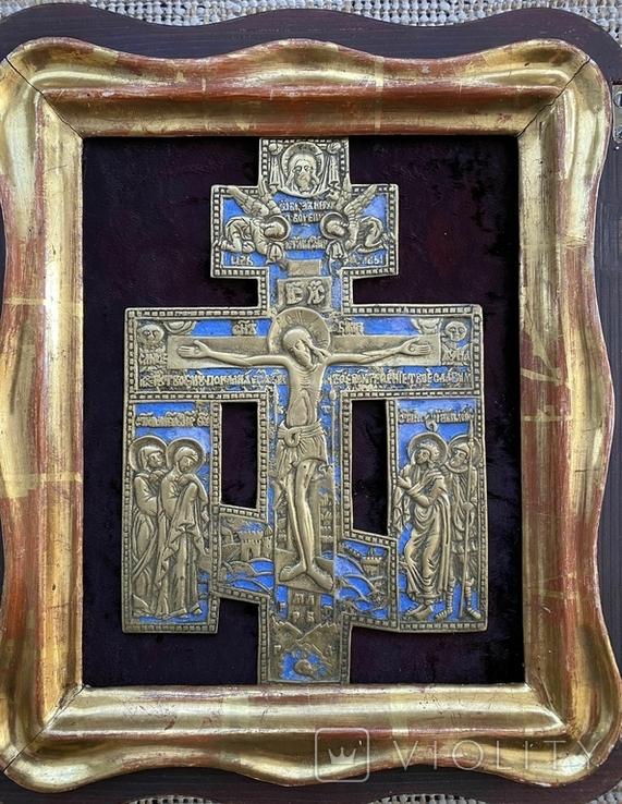 Крест Бронза большой в киоте, фото №3