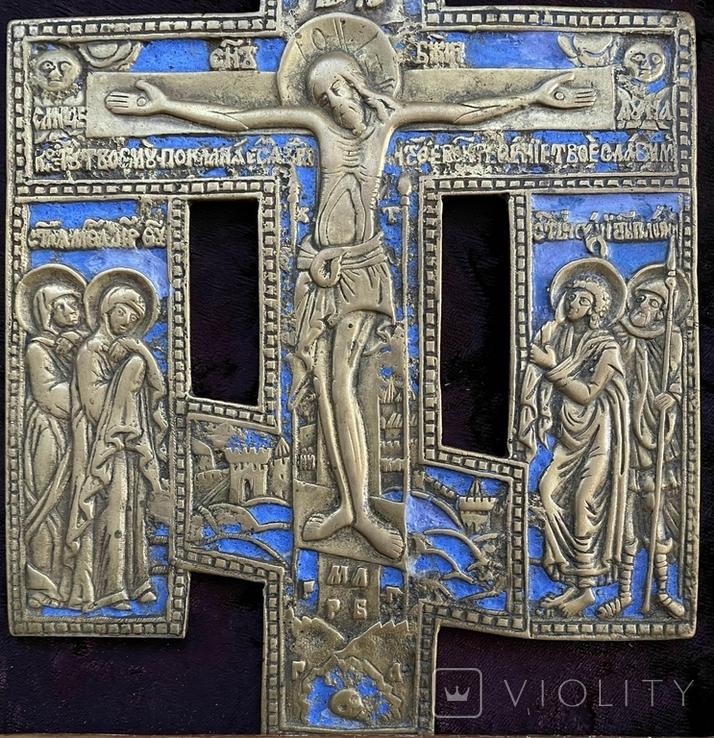 Крест Бронза большой в киоте, фото №6