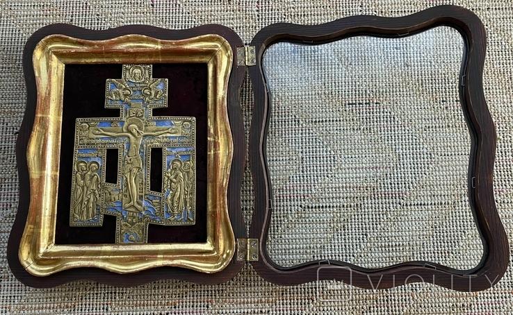 Крест Бронза большой в киоте, фото №7