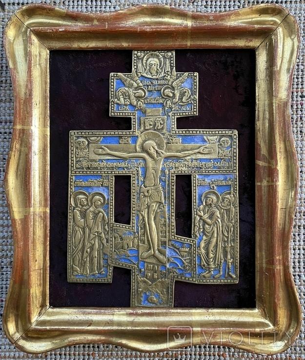 Крест Бронза большой в киоте, фото №8
