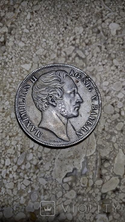 Бавария Максимилиан II 2 гульдена 1855 года. Копия., фото №2