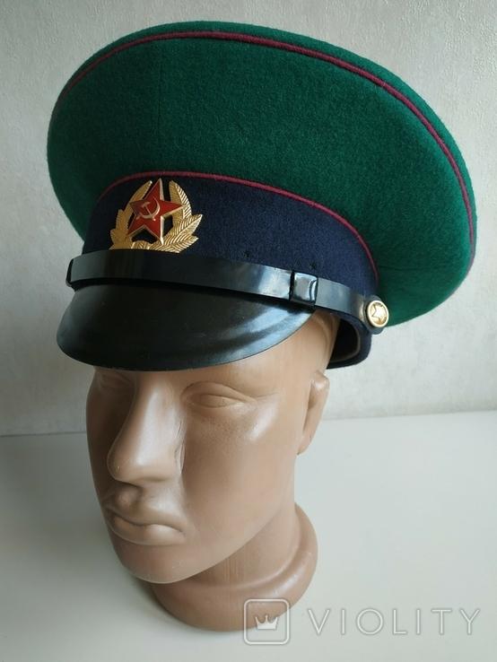 Фуражка пограничника ПВ КГБ СССР малиновый кант 1977 г, фото №3