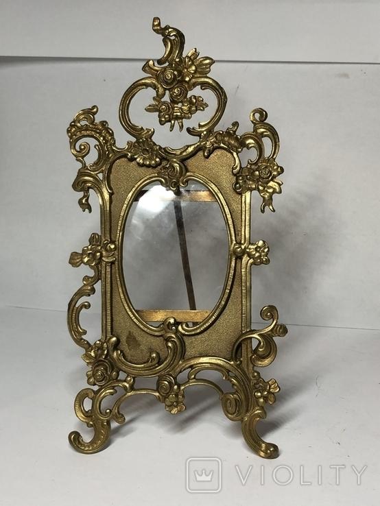 Бронзовая рамка для фотографий с оригиналом стеклом