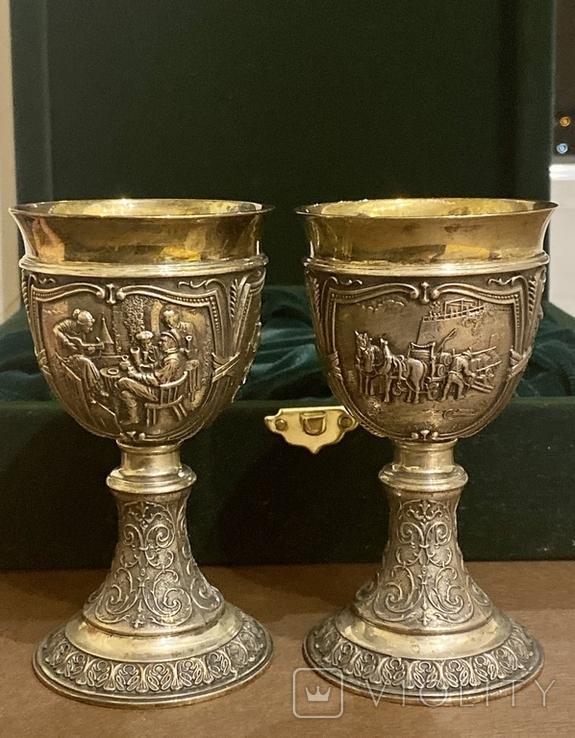 Пара бокалов, серебро 925, вес 538 грамм., фото №2