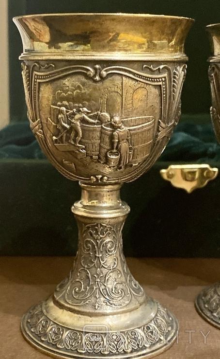 Пара бокалов, серебро 925, вес 538 грамм., фото №8