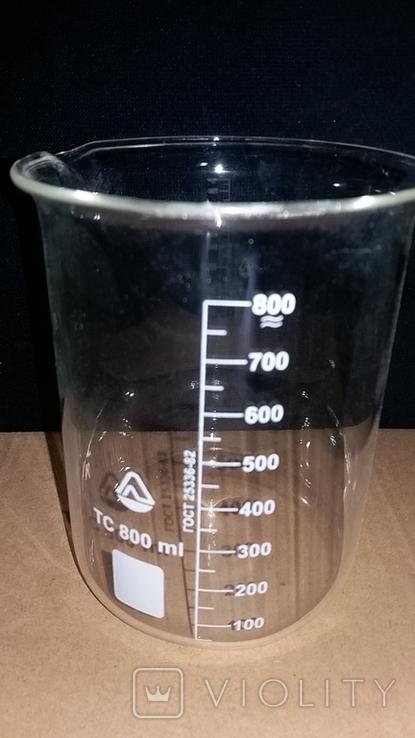 Лабораторный стакан ,градуированый 800мл(низкий с носиком) термостойкий.