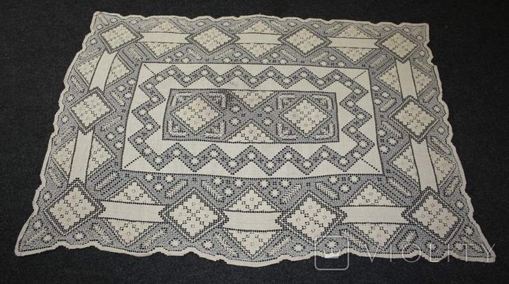 Старинная скатерть ручной работы 150х110, фото №2