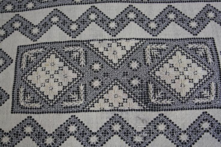 Старинная скатерть ручной работы 150х110, фото №9