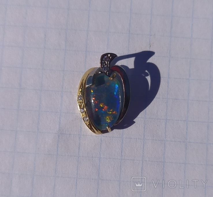 Золотой кулон с опалом и бриллиантами., фото №2