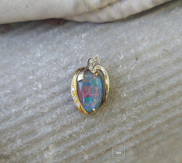 Золотой кулон с опалом и бриллиантами., фото №11