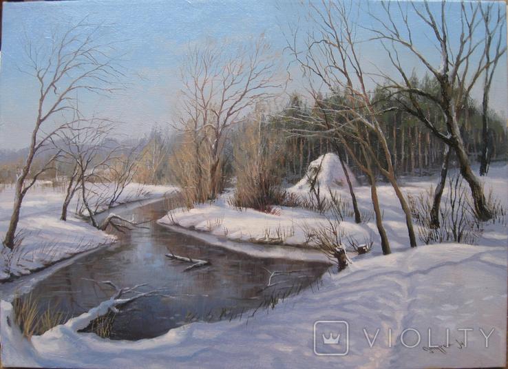 Зимний пейзаж с ручьем.30х40_х.м.Журка М.