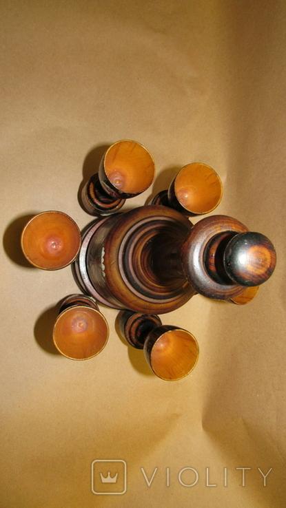 Набор из дерева графин с рюмками, фото №3